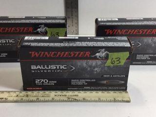 3-WINCHESTER BALISTIC SILVERTIP 270 WSM 130GR AMMO