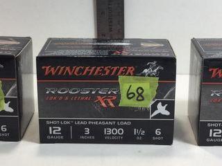 """3 -WINCHESTER 12GA, 3"""", 1 1/2OZ, #6 SHOTGUN SHELLS"""