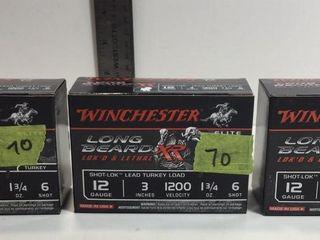 "3 - WINCHESTER 12GA, 3"", 1 3/4"", #6 SHOTGUN SHELLS"