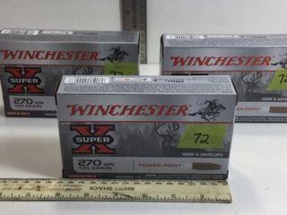 3 - WINCHESTER SUPERX 270 WIN 130GR AMMO