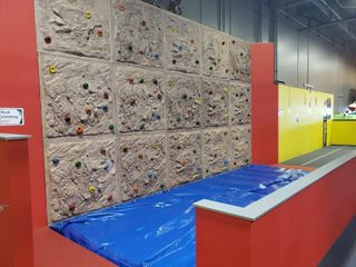 Rock Climbing Wall comes with blue air mat.&n...