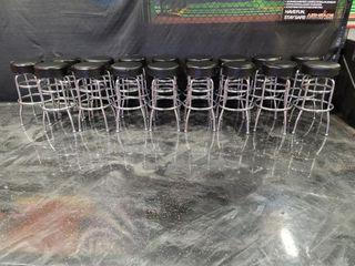 17 Black Bar stools with chrome double ...