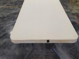Qty 5, 6 Foot Long Folding Tables - One is sh...