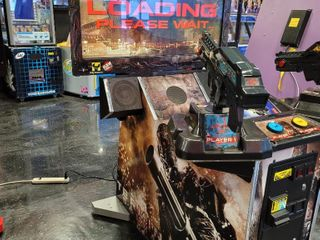 Terminator Salvation with gleaming red eyes t...