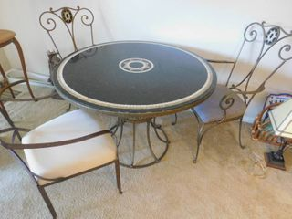 Marble and Wrought Iron Table   Chairs