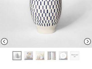 11 6  x 5 8  Stoneware Block Print Vase White Blue   Threshold set of 2