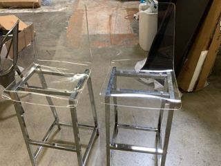 Bar Stool in Chrome and Clear Finish   Set of 2