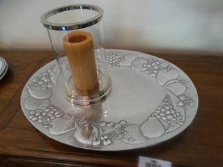large Wilton serving tray   glass candle holder