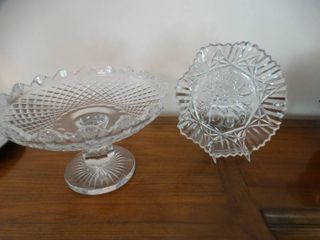 2 pcs cut glass servers