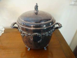 Silver plate ice bucket w lid
