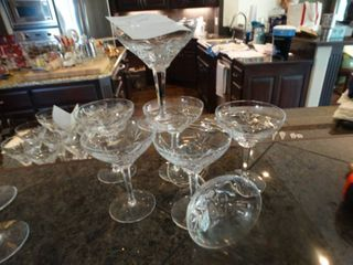 7 fine crystal champagne stems