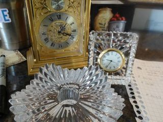 Brass mantle clock  small crystal clock   candle holder