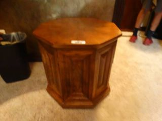 Wood octagon end table w  under storage