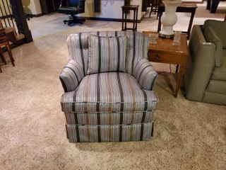 Fine striped swivel chair