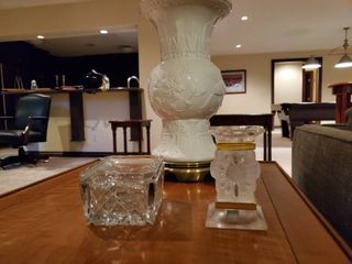 lalique crystal candle holder   crystal lidded box