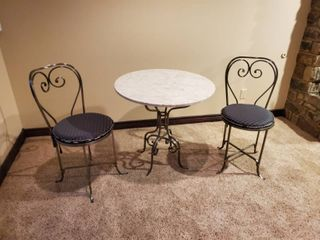 Outstanding 3 pc icecream set  Marble top table w  metal stand   2 metal chairs