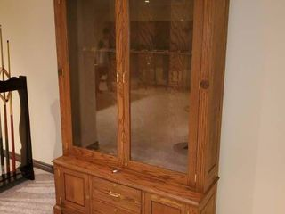 Absolutely STUNNING solid wood gun showcase cabinet w  storage drawers   doors  Includes keys