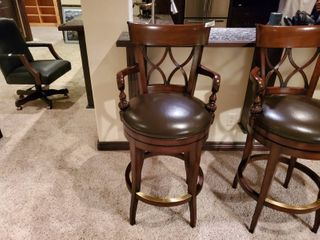 Very fine padded wood bar stool  Bidding on 1