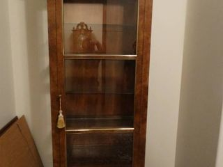 Very fine beautiful Baker Furniture solid wood lighted curio cabinet w  glass front load door