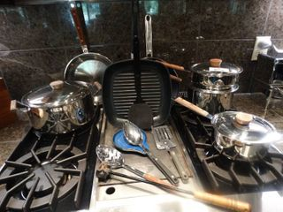 Modern pot pan set   assorted kitchen items