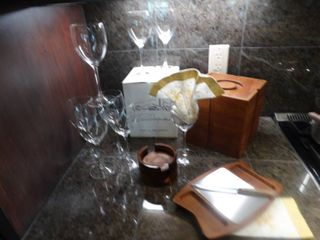 Ice bucket  cheese serving tray  set of fine stemware