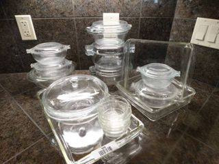 lot of glass cookware  some pyrex