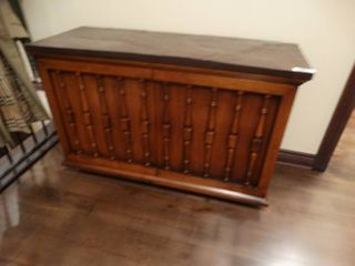 Vintage solid wood w  slate top cabinet  Very heavy
