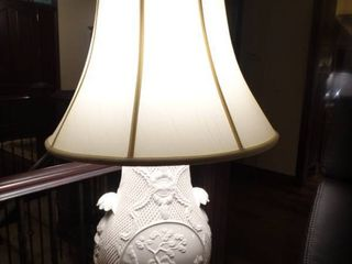 Breathtaking white intricate Table lamp w  shade