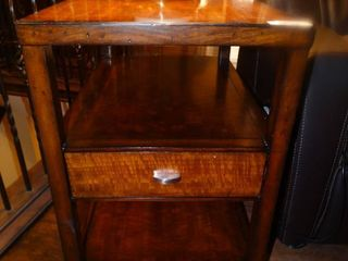 Wood lamp table w  drawer