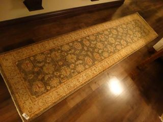 Hand spun wool rug  runner rug  2 8  x 10 1