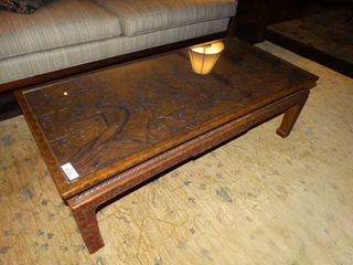Absolutely Fabulous Solid wood John Widdicomb coffee table w  intricate carved top