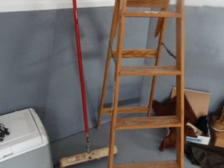 Wooden step ladder   push broom