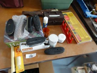 lot of assorted gun parts   cleaning items