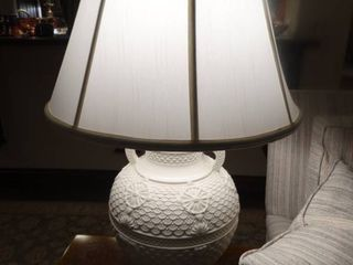 Stunning pair of white intricate detailed table lamps w  shades