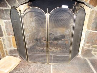 Metal 4 panel fireplace screen