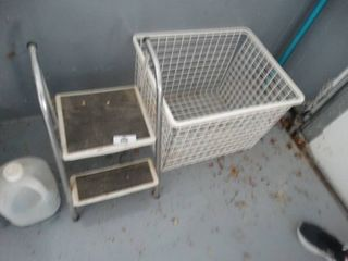 Folding step stool   metal basket   pool pole