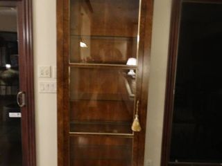 Fabulous solid wood Baker Furniture lighted curio cabinet w  front load door