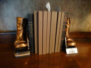 Vintage books   brass book ends