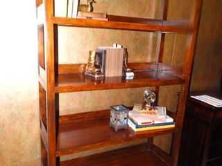 Beautiful solid wood curio or book shelf unit w  2 drawers on bottom