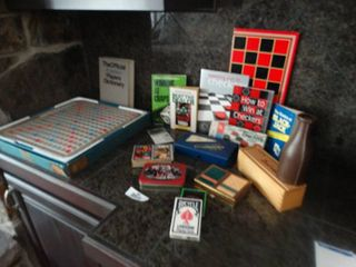 Assorted playing cards   scrabble game