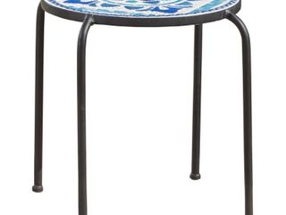 Skye Outdoor Round Tile Side Table  Planter by Christopher Knight Home