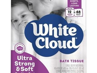 White Cloud Toilet Paper  Ultra Strong   Soft  12 Mega Rolls  Box of 48