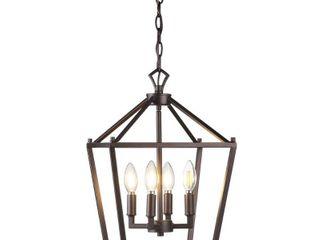 12  4 Bulb lantern Metal lED Pendant  Oil Rubbed Bronze