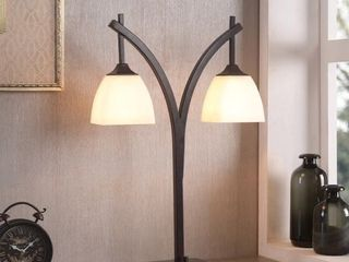 Porch   Den Alfred Glass Shades Bronze Modern 2 light Table lamp