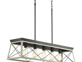 BriarWood Collection Whitewashed Five light Farmhouse linear Chandelier