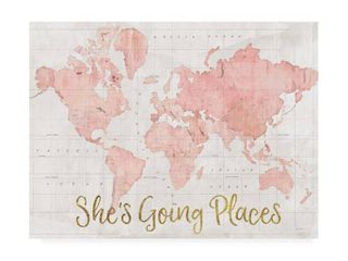 Sue Schlabach  Across The World Shes Going Places Pink  Canvas Art