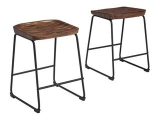 Signature Design by Ashley Showdell Barstool Set of 2 Brown Black