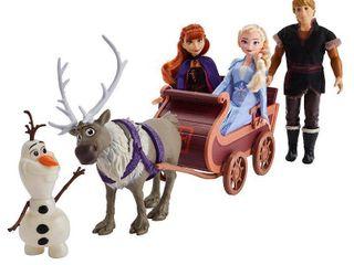 Disney Frozen 2 Sledding Adventures Fashion Doll Playset with Elsa  Anna  Kristoff  Olaf  Sven   Sled Toy