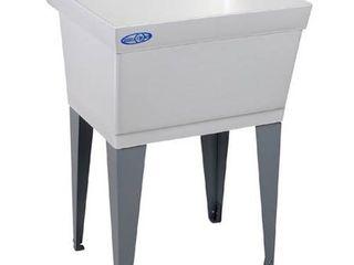 Mustee 15F Utilatub laundry Tub Floor Mount  23 5 Inch x 23 Inch  White No legs