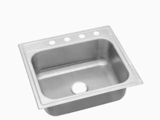 Elkay 25 in x 22 in Satin Single Bowl Drop In 4 Hole Residential Kitchen Sink
